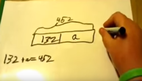 Using a whiteboard, Tucker shows a tape diagram showing 452 is 132 and a. Below, 132 + a = 452.