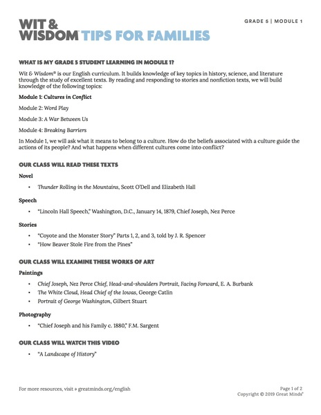 Wit & Wisdom Family Tip Sheets Grade 5 - Great Minds